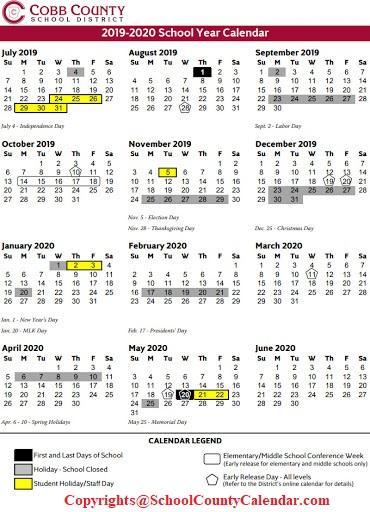Cobb County School Calendar