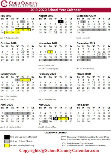 Cobb County School Calendar 2021  2022 | Important Update | County
