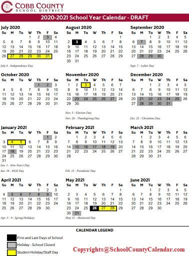 Cobb County Schools Calendar 2020