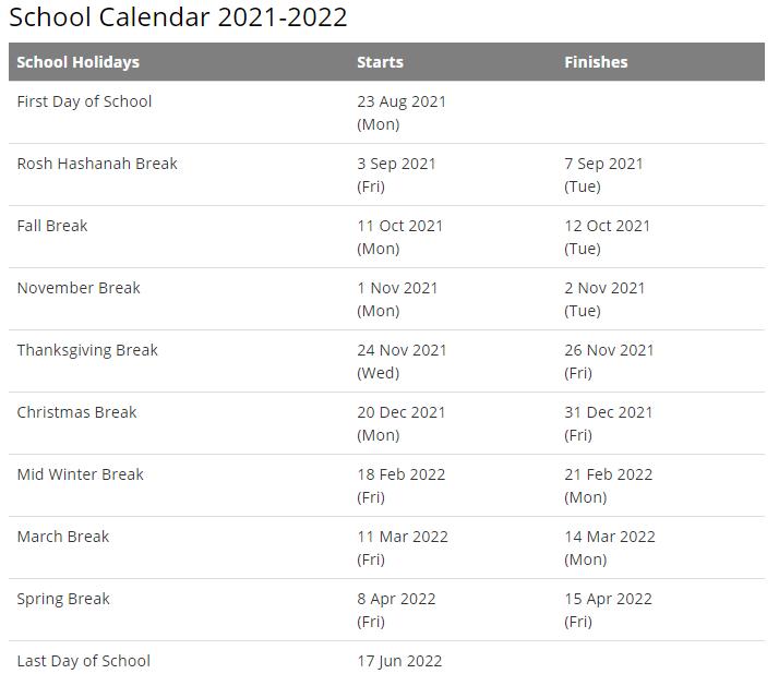 Fairfax County School Calendar 2021