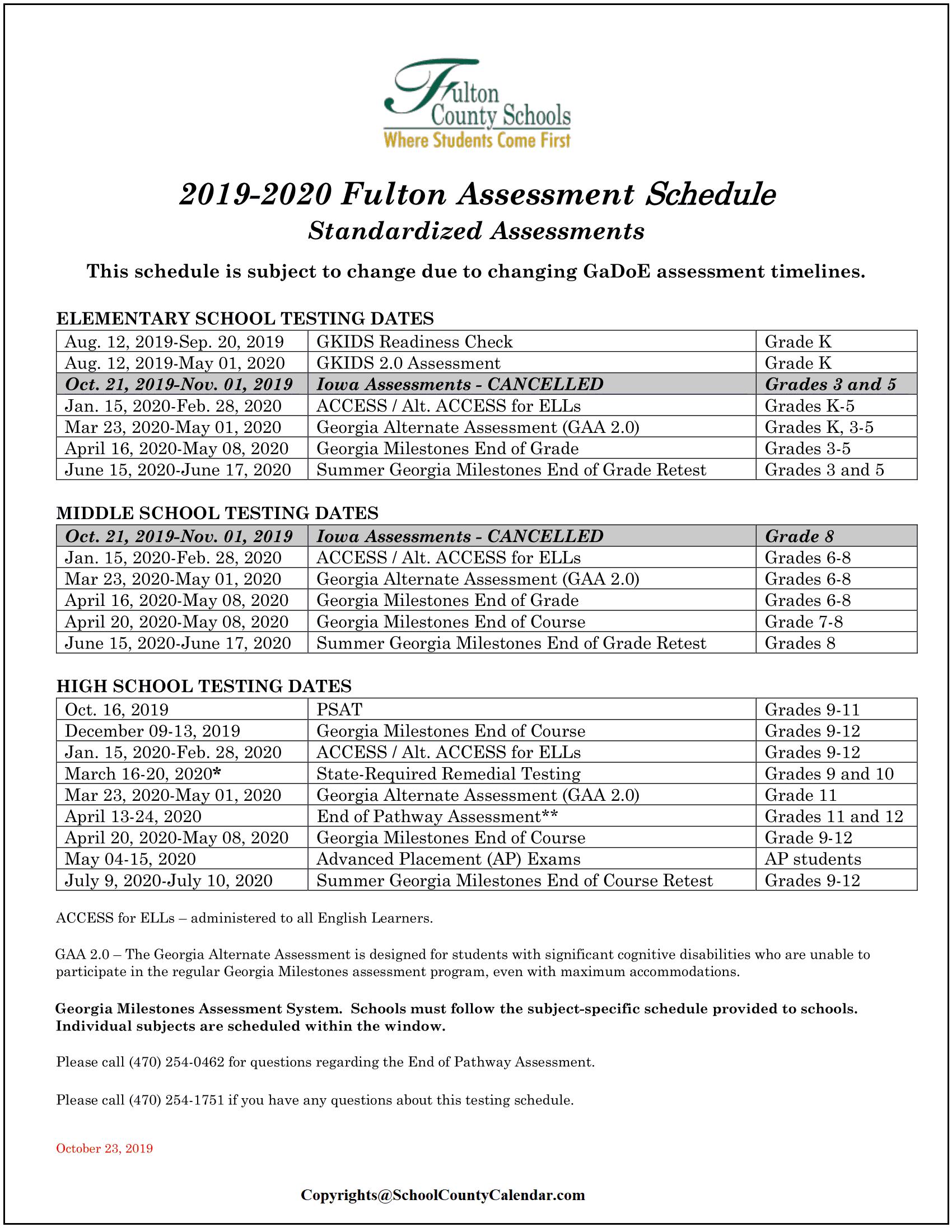 Fulton County Schools Calendar 2022.Fulton County School Calendar 2021 22 Important Update County School Calendar