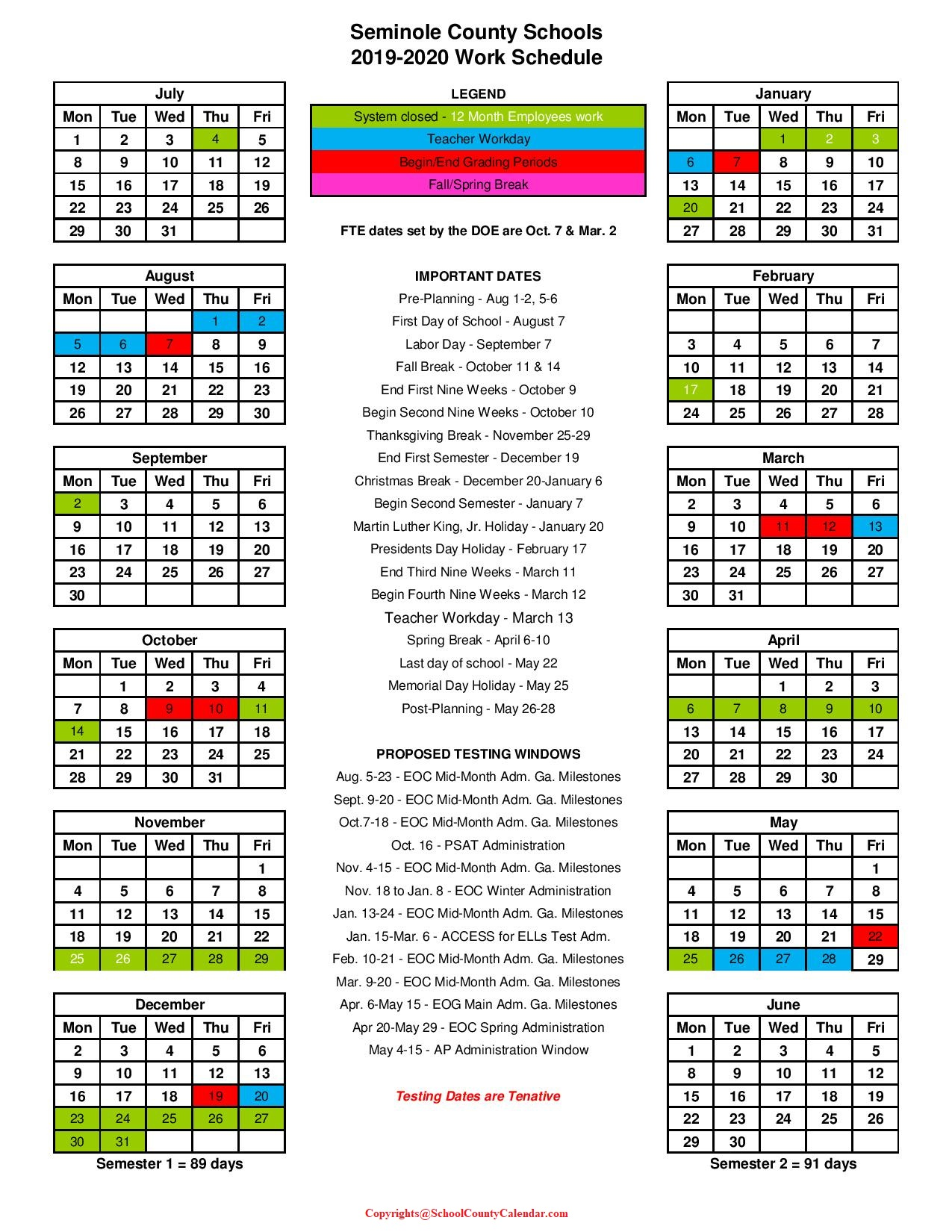 Seminole County School Calendar