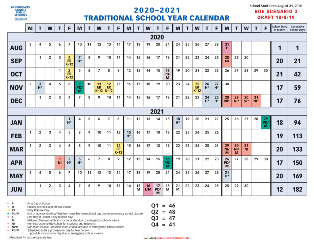 Montgomery County School Calendar