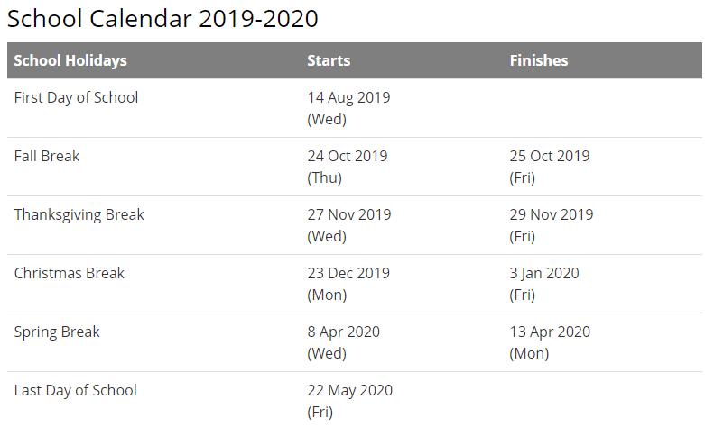 Montgomery School Calendar 2020