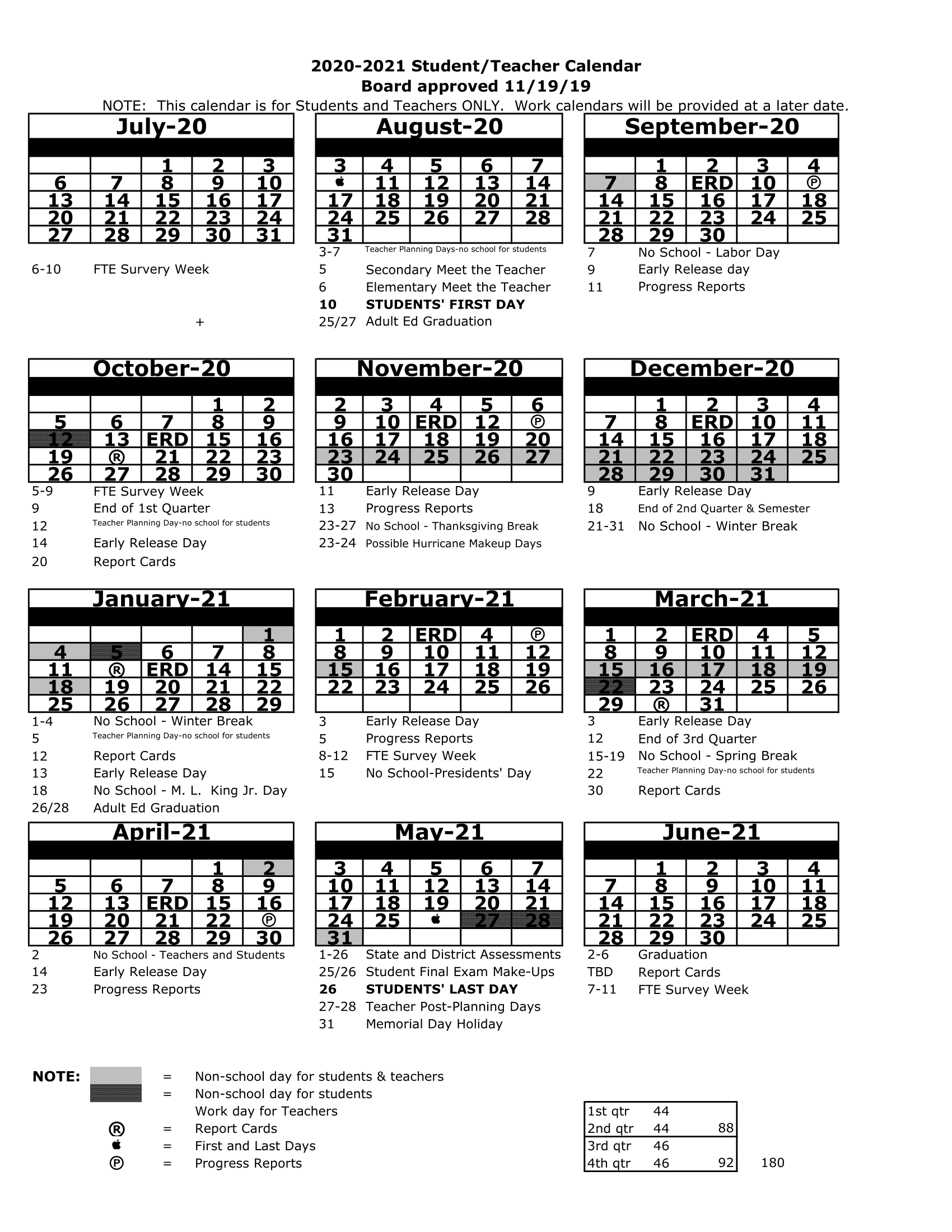 Pasco County School Calendar