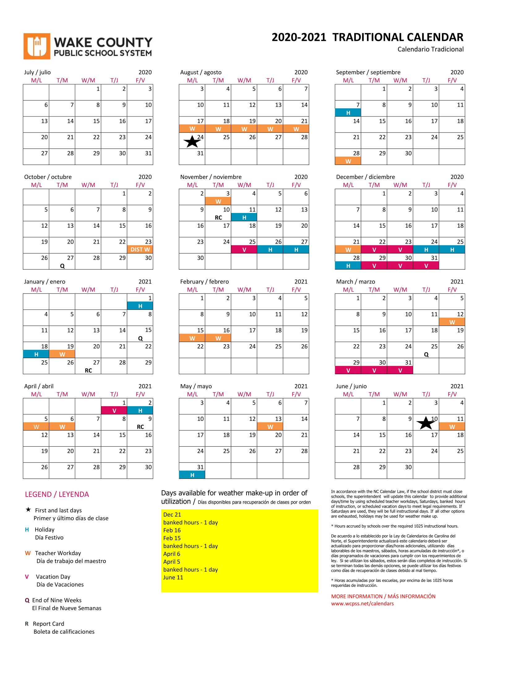 Wcpss Traditional Calendar 2021-2022