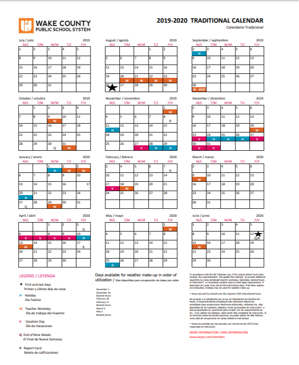 Wcpss Traditional Calendar 2021-2022 Images