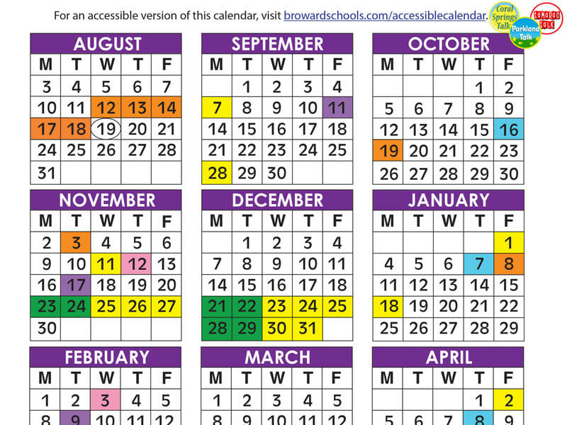 Broward County School Calendar 2021