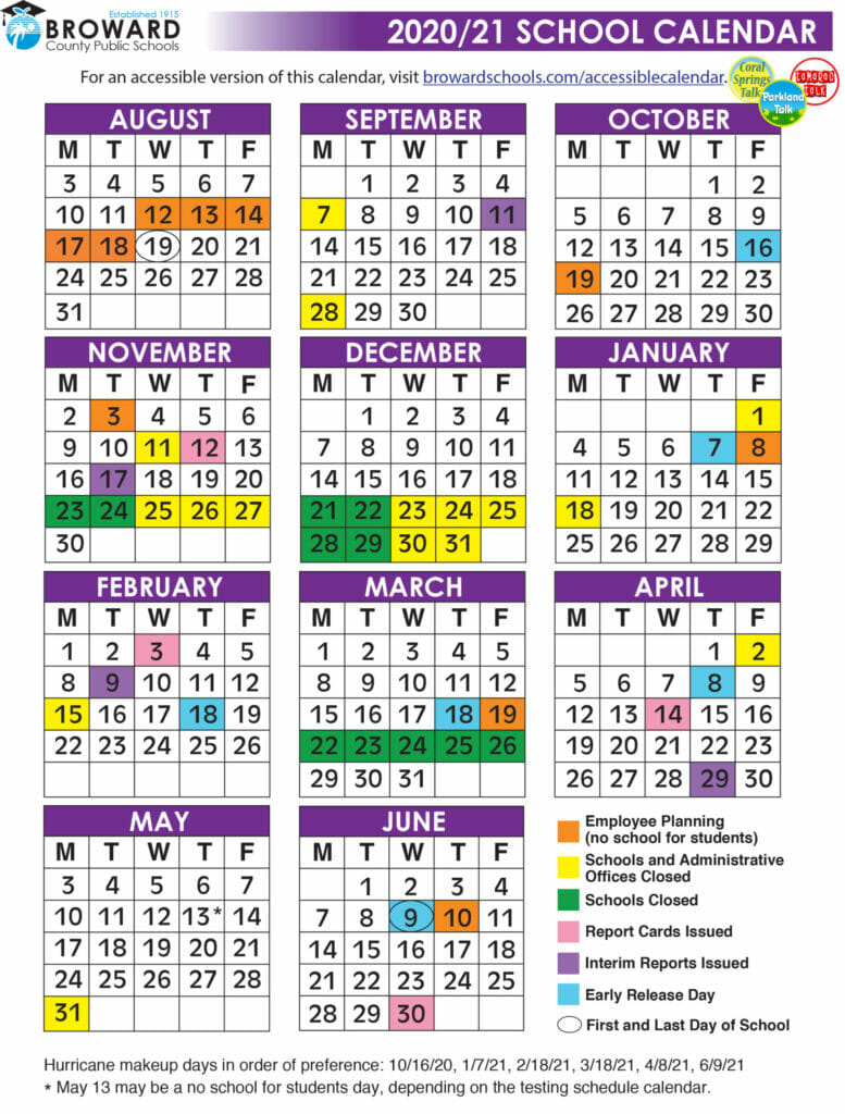 Broward County School Calendar