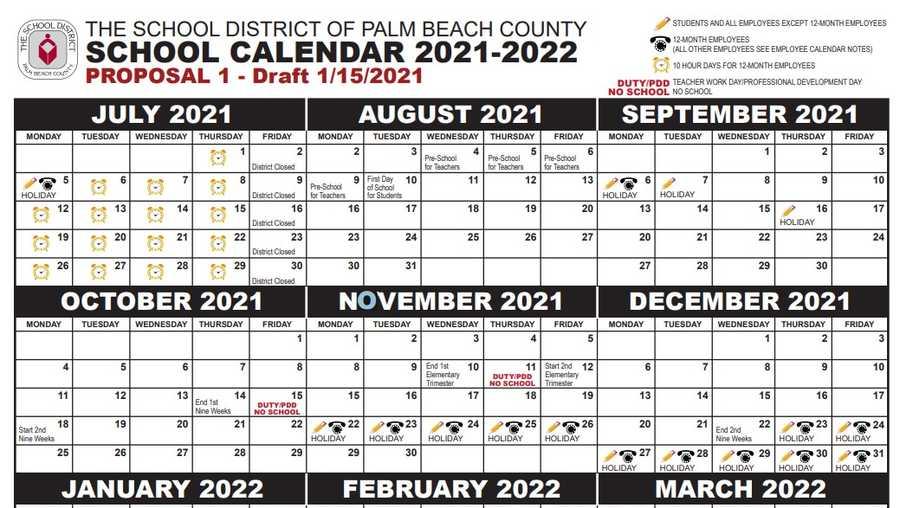 Palm Beach School Calendar 2021