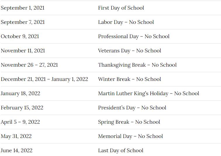 Pasco School Calendar 2021