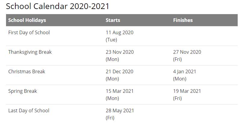 Clay County School Calendar 2021-2022