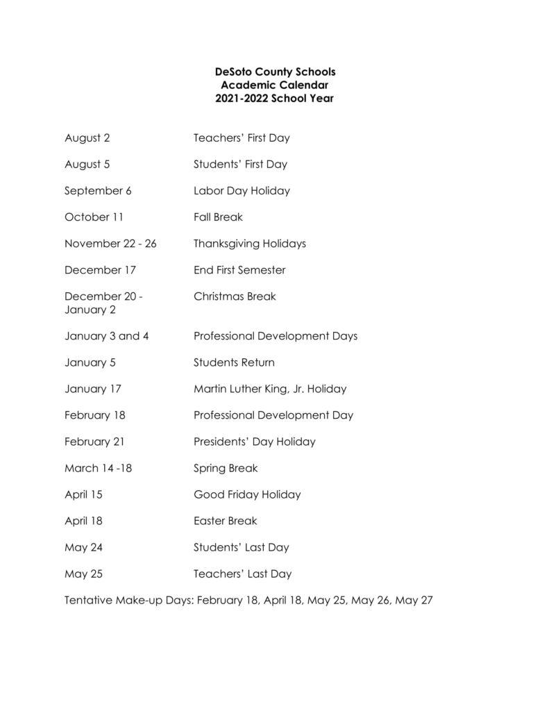 Desoto County School Calendar