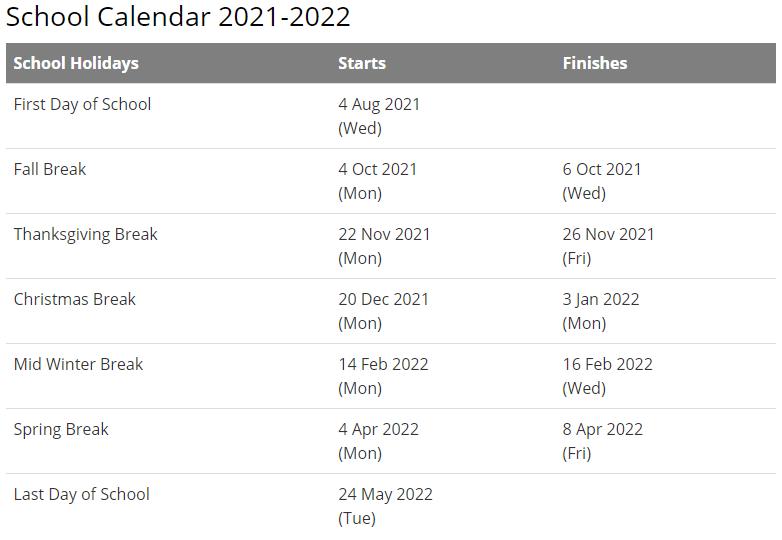 Bartow School Calendar 2021-2022