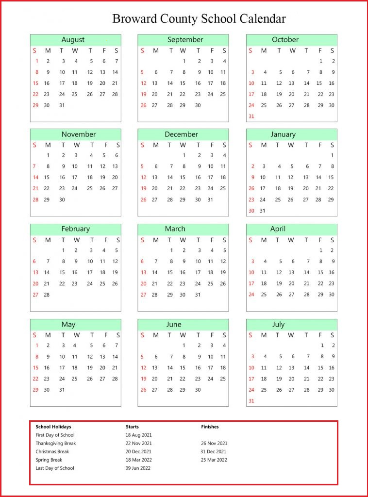 Broward County School Calendar 2021-2022